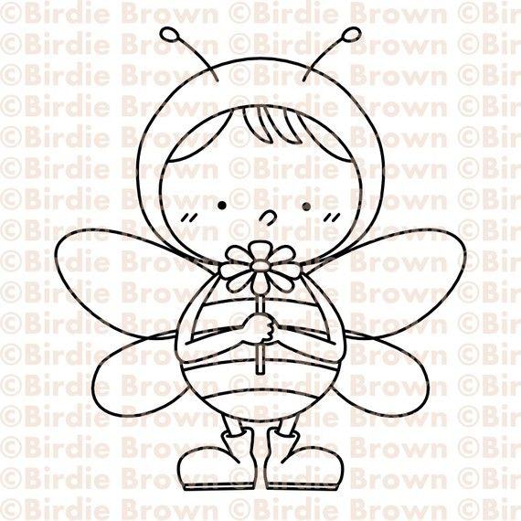 Digital Stamp -- Happy Bee 02 via Etsy