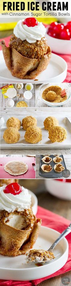 Finish off your Cinco de Mayo meal with this Fried Ice Cream Recipe that is served in cinnamon and sugar coated tortilla bowls.: