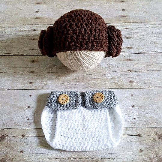 Crochet Baby Princess Leia Star Wars Hat Beanie Diaper Cover Set Newborn Infant Photography Photo Prop Handmade Baby Shower Gift