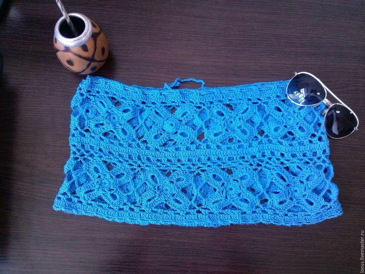 Купить Пляжная юбка крючком - синий, юбка, пляжная юбка, юбка крючком, юбка летняя