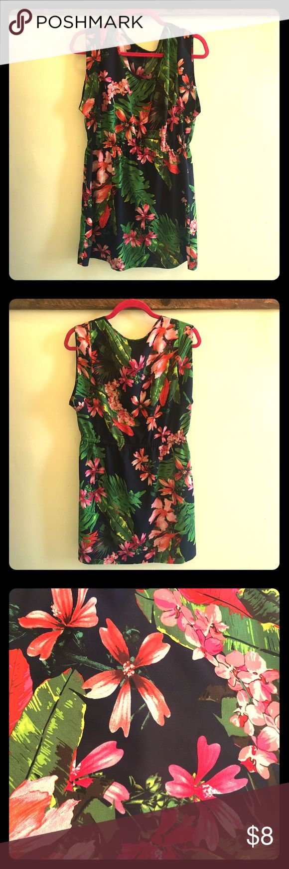 🌺🌺 MNG By Mango Tropical Floral Dress, Size 8 🌴🌴 too pretty! gentle wear, good pre-loved condition. a few loose strings + wrinkles.  half capped sleeves, elastic waist, no stretch. Mango Dresses