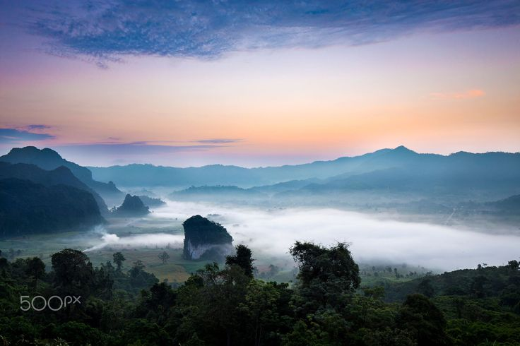 National park PhuLangKa at sunrise Phayao Province ,Thailand