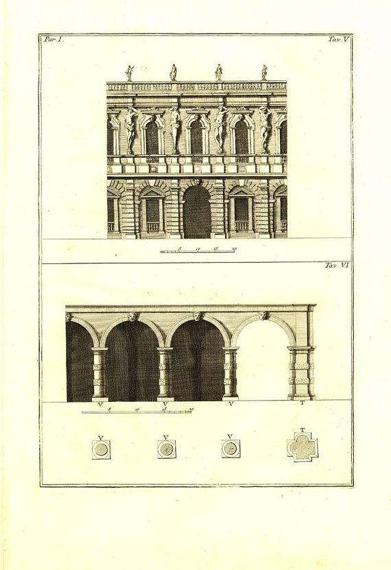 Palladio Villa Contarini Antique Architect Print 1760 by carambas, $78.00