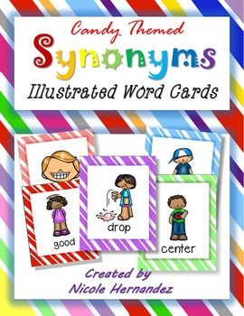 Candy Themed Illustrated Synonym Word Cards: This is a kid-friendly, candy themed set of synonym cards for introducing synonyms to your kiddos. There are pairs of synonyms depicted by the same picture so that they will get familiar with the concept. They can match cards or use as a visual to brainstorm other words that mean the same as the picture given.There cards can also be used to spark their writing.