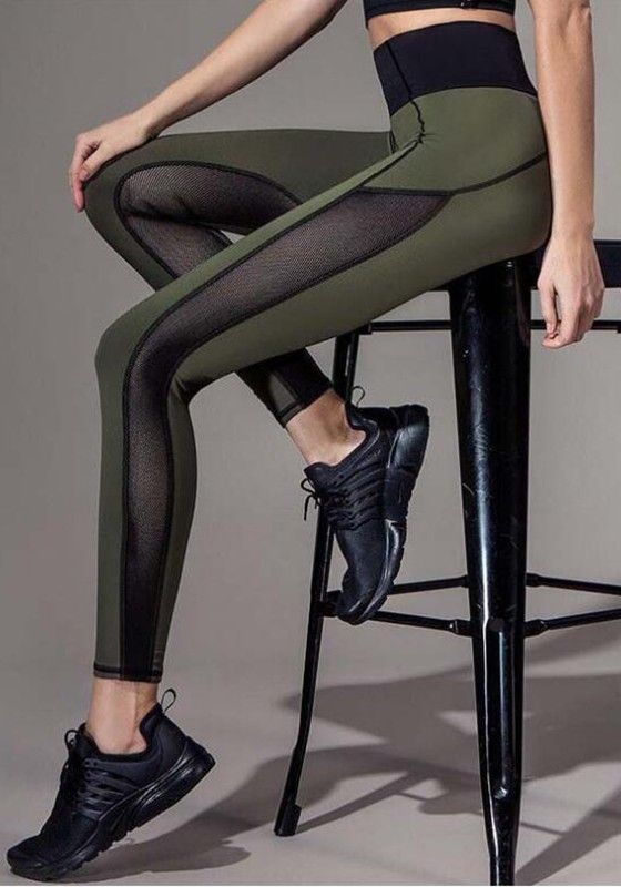 Armee-Grün Mesh Hohe Taille Stretch Yoga Sock Beiläufige Push Up Leggings Damen