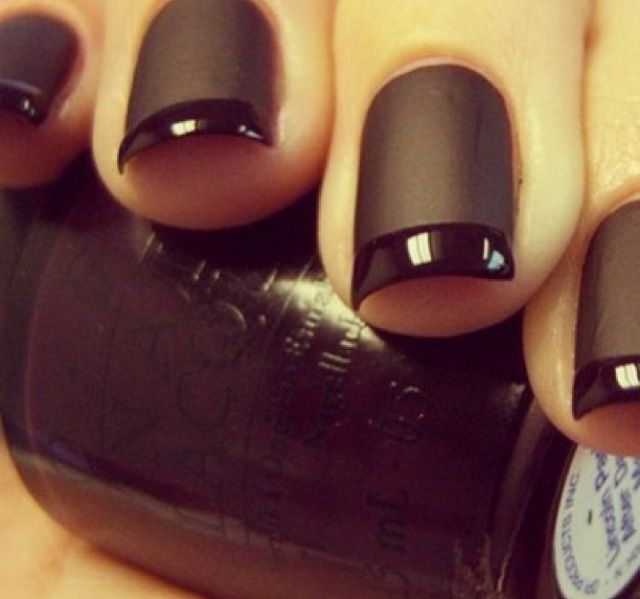 Matte black with glossy french tip