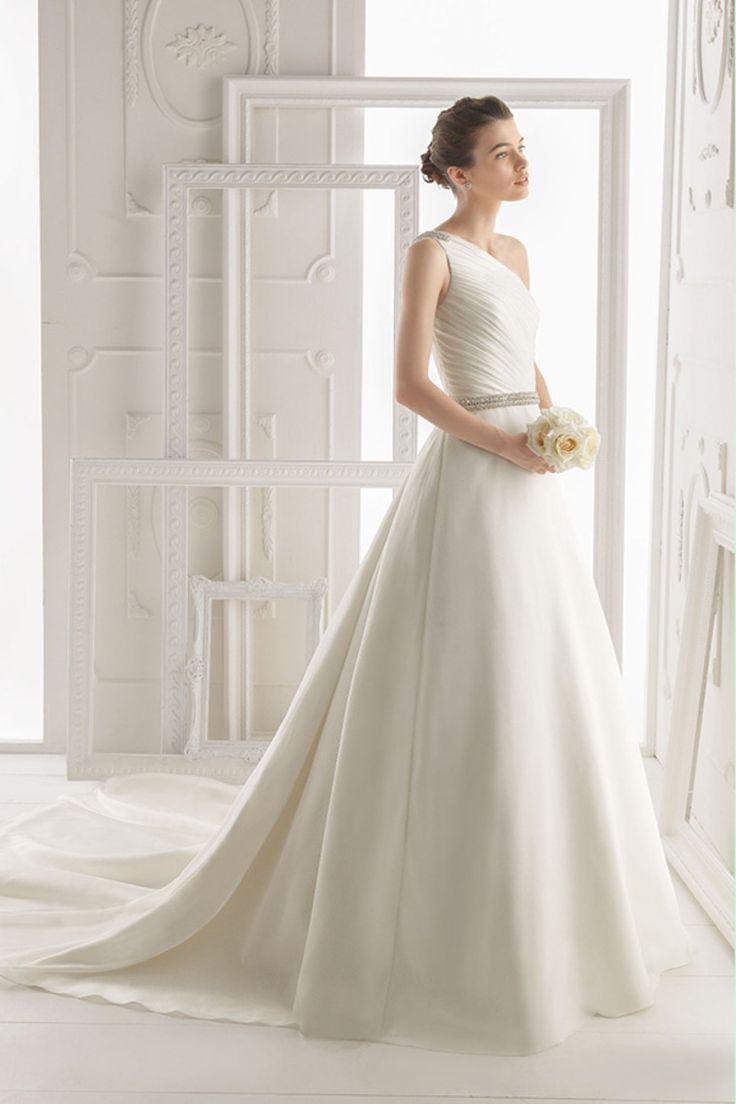 2014 de un hombro vestido plisado blusa con cuentas una línea de novia de raso de cola capilla USD 189.99 VEPG6YGFTB - Vestido2015.com