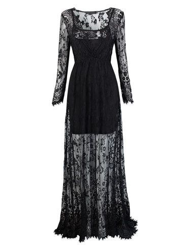 Sexy Women See-Through Floor-Length Long Sleeve V Neck Lace Maxi Dress Shopping Online - NewChic Mobile.