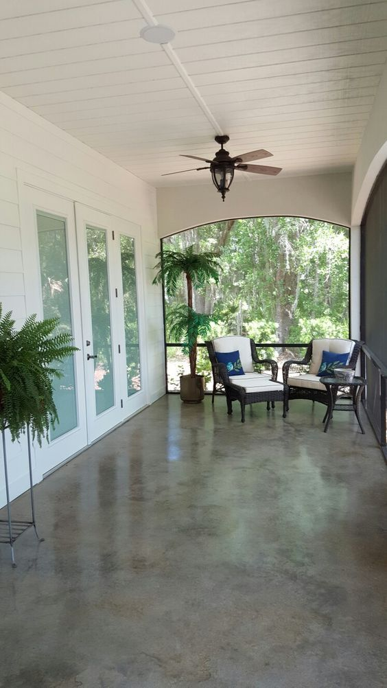 Striking, easy to clean, and cool on hot summer days! Acid Wash Stained Concrete 60 foot Back Porch: