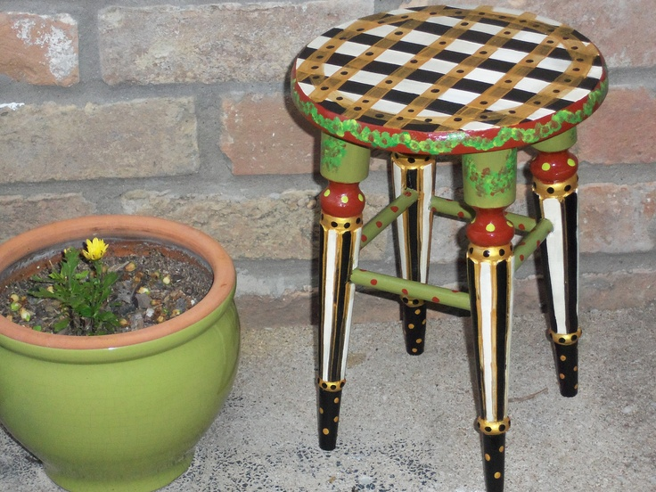 Whimsical Hand Painted Stool Oneofakind Furniture by TresSuzette