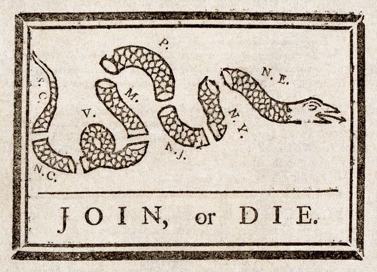 """""""Join, or Die"""" created by Benjamin Franklin on May 9, 1754. Showing a snake severed into eighths, with each segment with the initials of American colony. New England was represented as 1 segment, rather than the four colonies. In addition, DE and GA were omitted completely. Thus, it has 8 segments of snake rather than the traditional 13 colonies."""