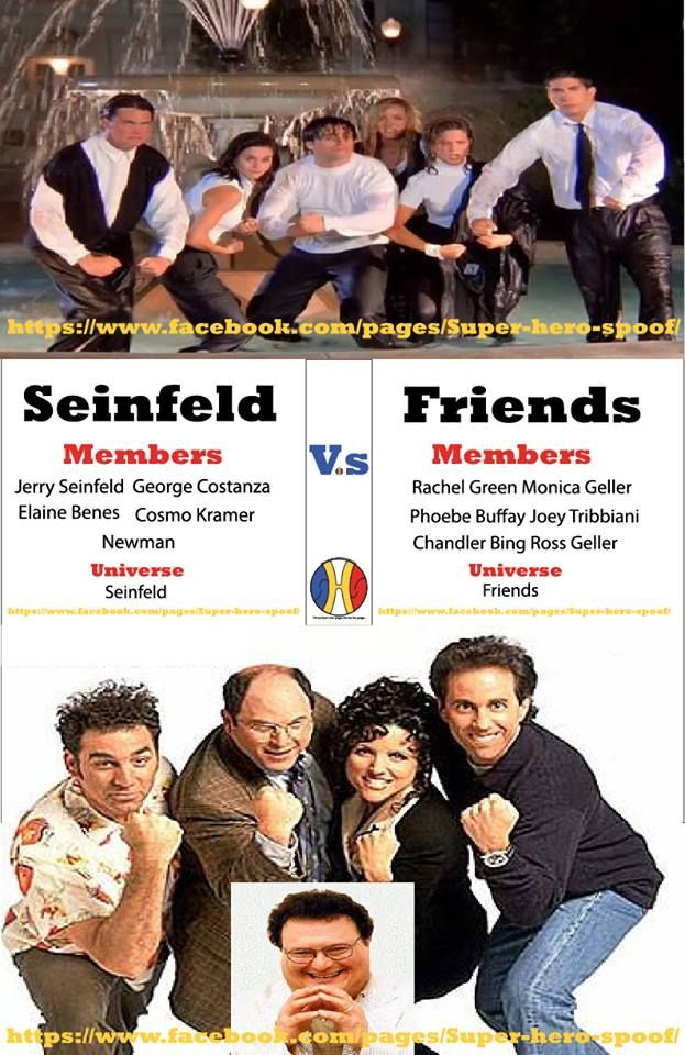 so here we go!... Not super hero related, but I'll ask anyways... In a battle of do nothing about nothing, which Group will be the last one standing? #Friends vs #Seinfeld, Who will win???  #superherospoof