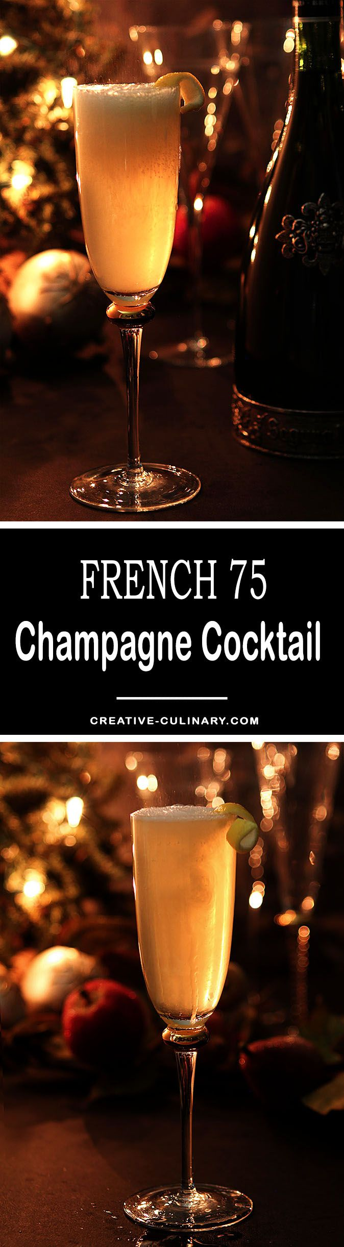 The French 75 Champagne Cocktail is an elegant cocktail with a history; perfect for any celebration but we especially love to serve them on New Year's Eve.  via @creativculinary