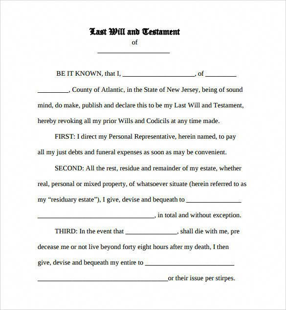 Last Will And Testament Sample Sample Last Will And Testament