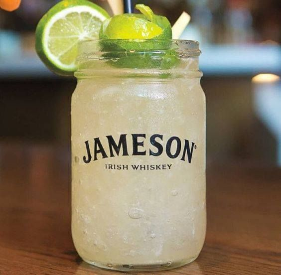 Jameson Black Barrel Mule, Mix half an ounce of lemon juice with one and a half ounces of Jameson (or Irish whiskey), pour over ice, then top with ginger beer and limes.
