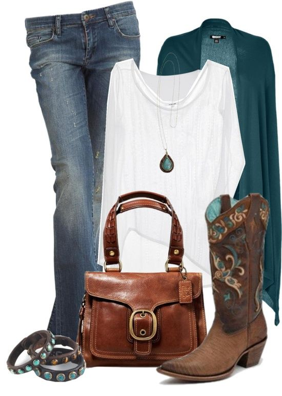 Women's outfits. Women's fashion. Women's clothes. Fall. Winter. Turquoise. Cowgirl boots. Cowboy boots.  Exchange brown for black