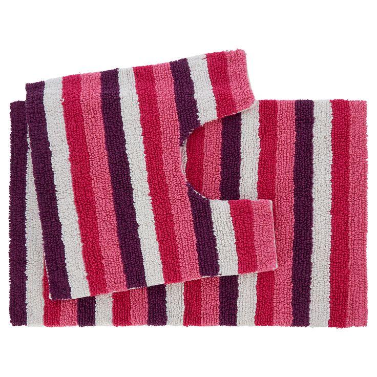 George Home Striped Bath & Pedestal Mat Set | Towels & Bath Mats | ASDA direct
