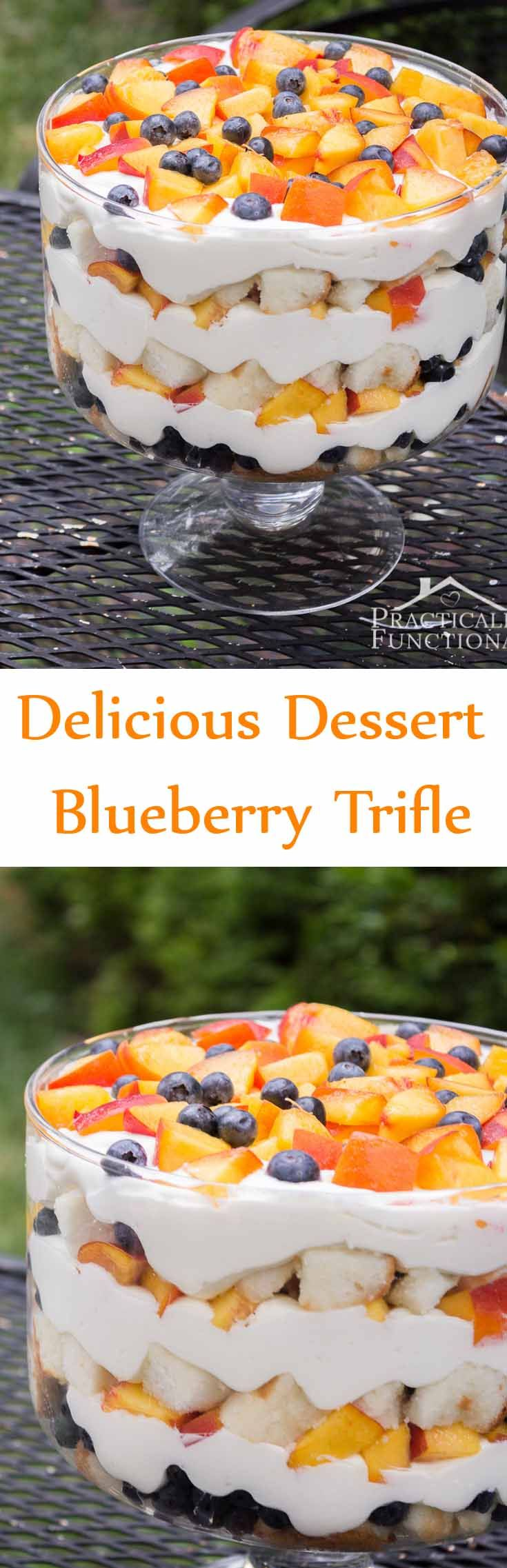 Trifle is one kind of dessert, which is usually made with fruit, sponge  cake and custard; it often topped with ice cream or whipped cream. Here is a  blueberry trifle recipe, where the lemon curd gives an extra layer of  decadence.