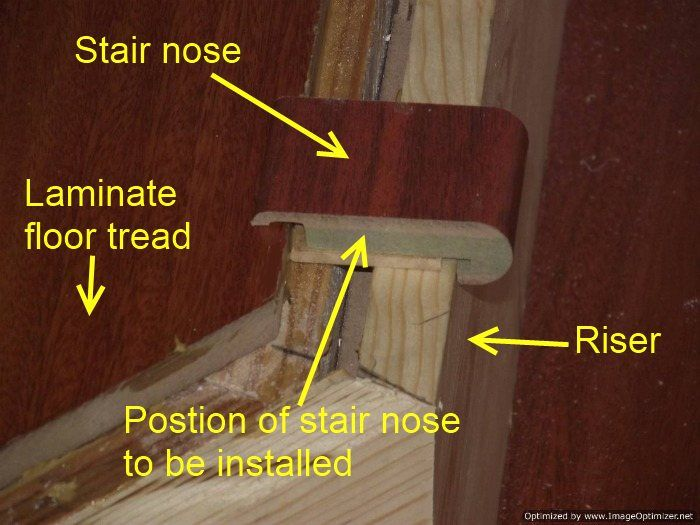 Installing Laminate Flooring On Angled Stairs, Position The Stair Nose On  The Riser So It Sits Level. | Summer Project | Pinterest | Installing  Laminate ...
