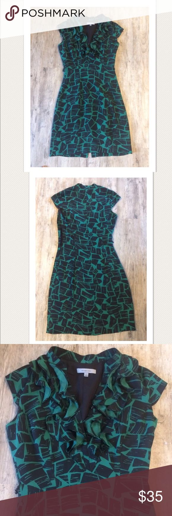 """$295 Classiques Entier for Nordstrom Silk Dress High end department store customer return. Retails for $295 + Tax  Beautiful, lightweight silk dress. NO signs of wear.   Green and black print Ruffle detail with buttons at chest Cap sleeves Zips on side Lined  100% silk  Size 2  Measures approximately: total length 36.5"""" bust across 16.5""""  *Belt tie at waist is missing- easy to add your own if you desire. Has not been cleaned/treated.   PLEASE ASK ANY QUESTIONS BEFORE PURCHASE, THANKS…"""