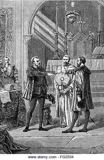 PIZARRO AND ALMAGRO, c1536. /nConquistadors Francisco Pizarro Gonzßlez and Diego de Almagro taking an oath of peace in front of a priest in Peru, c1536. Line engraving, c1891. - Stock Image