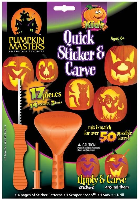 Pumpkin Masters 65505 Quick Sticker/Carving Kit, 17 Pieces