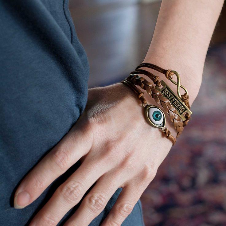 Evil Eye Best Friend Infinity Symbol Wrap Bracelet