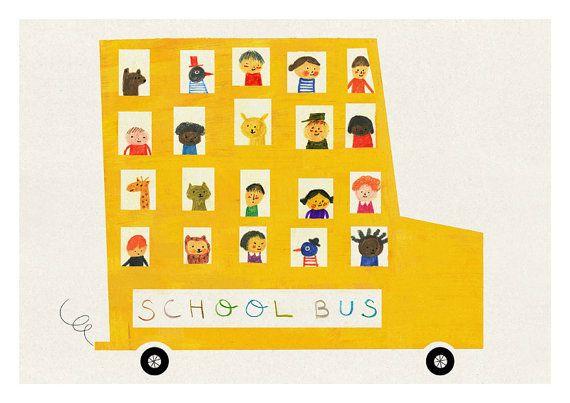 School bus print di blancucha su Etsy, $30.00