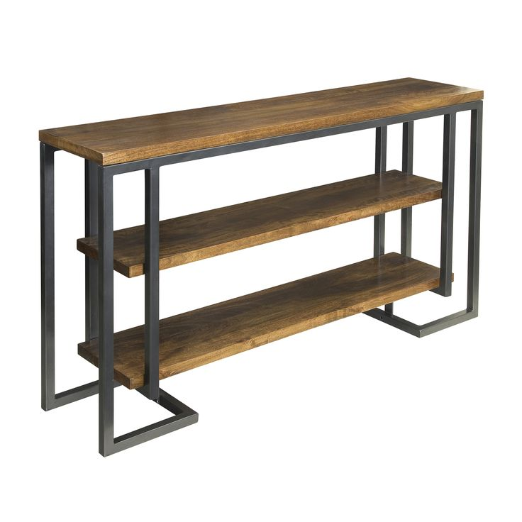 "Want something out of the ordinary? We found it. This Mango wood and Iron console table will increase the ""Wow"" factor in your Media (or any other) room with two lower shelves that appear to float between the angular metal legs."