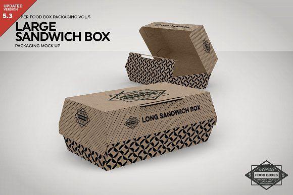 Download Large Sandwich Box Packaging Mockup Food Box Packaging Box Packaging Sandwich Box