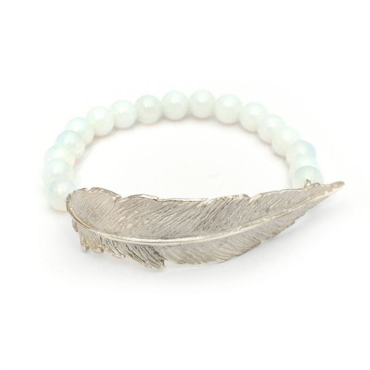 Jewels that Rock - Leivankash Designer Jewellery featuring White Opalite Feather Bracelet by Leivankash