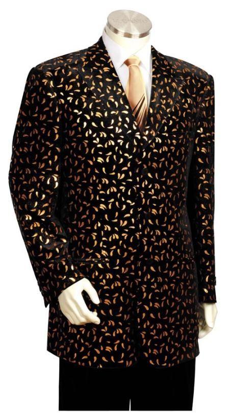 SKU#ED4357 Mens Long Zoot Suit Black/Gold $175