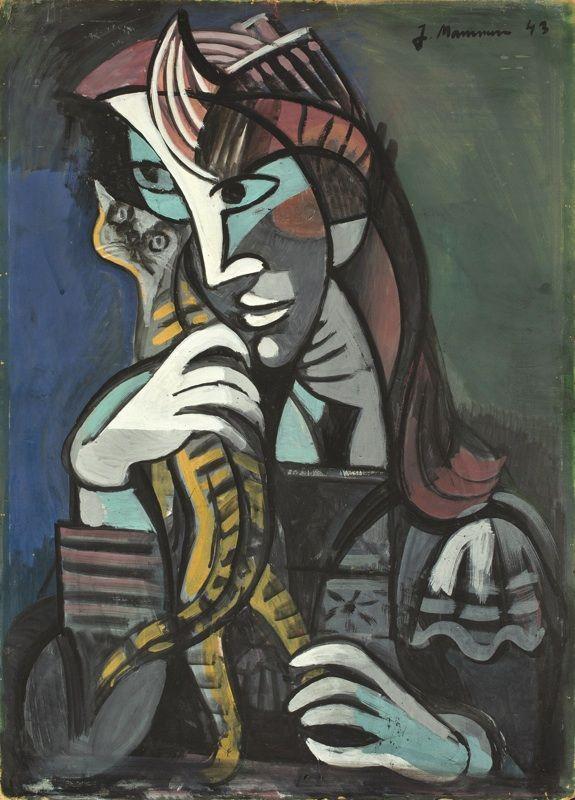 """Auktionslos 530 - Jeanne Mammen (1890 – Berlin – 1976)  """"MÄDCHEN MIT KATZE"""". 1943  Tempera on cardboard.  99,8x72cm"""