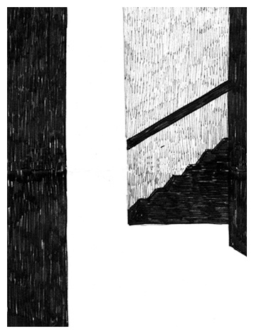Affaire // illustration // black and white // fineliner // realistic // graphic // drawing // room // stairs