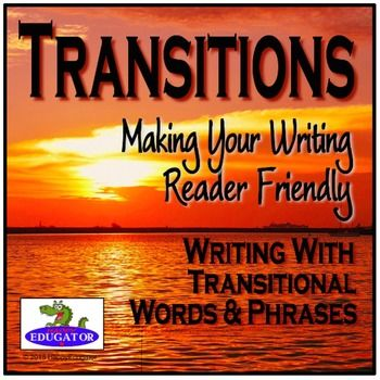 Transition Words and Phrases Lists and Sorting Activities. Supports common core! Transitional words and transitional phrases are useful in writing clear and fluent paragraphs, but students need to be familiar with when to use them. Includes a Word Splash of Transition Words with a graphic organizer for sorting, several different handouts with lists of useful transition words, and a categorizing worksheet.for groups to work on and discuss.