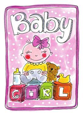 Een babymeisje op blokken en ander speelgoed- Greetz