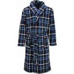 Badjas voor heren met blauwe ruit