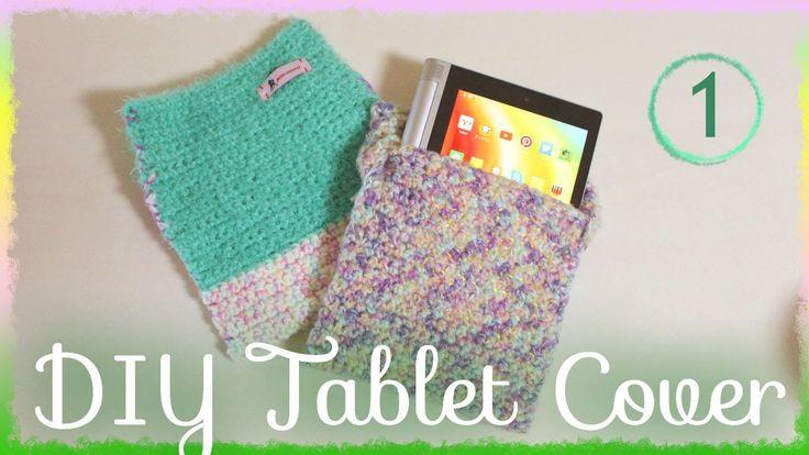 タブレットカバー自作(1)作り方・編み方【かわいい100均毛糸でかぎ編みで簡単に】 diy crochet tablet cover