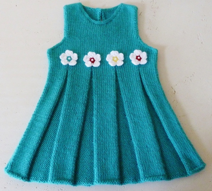 Hand Knitted Baby Dress in Turquoise - Ready to ship.. $32.00, via Etsy.