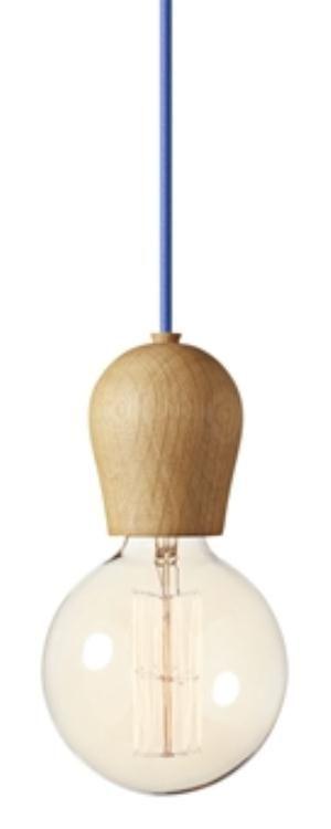 Bright sprout pendel oiled træ/blå ledning