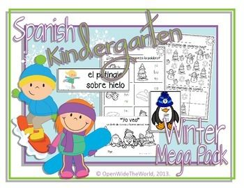 Spanish Dual Language Immersion Winter Kindergarten Mega-Pack. (Grade 1 in some Canadian provinces)  This winter themed mini-pack includes MATH and LITERACY worksheets and activities, all in Spanish! ($)