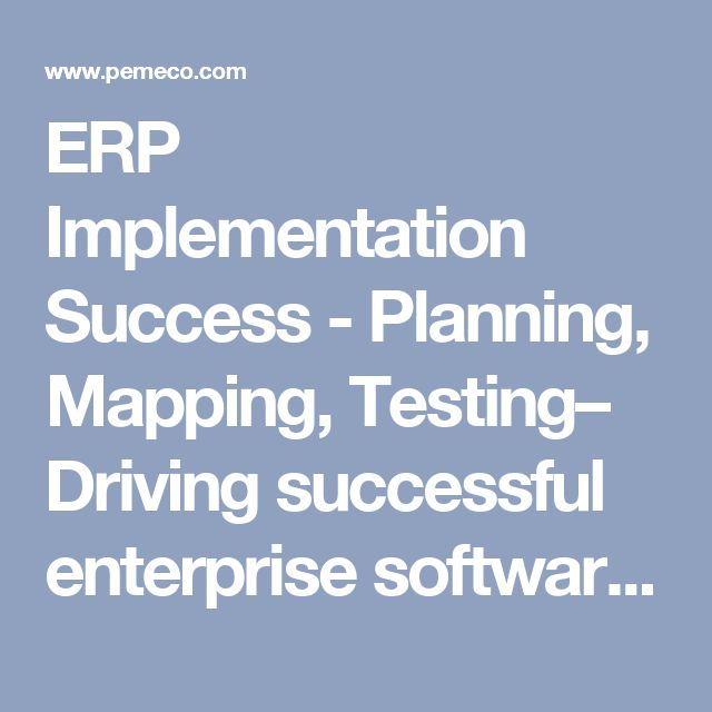 ERP Implementation Success - Planning, Mapping, Testing– Driving successful enterprise software projects