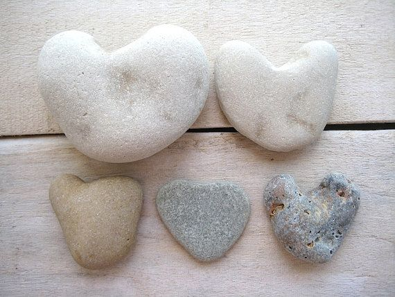 5pcs Stone Hearts Heart Shaped Stones Heart by CreteDriftwood