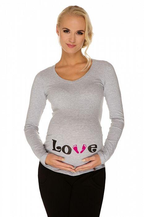 """Těhotenské tričko """"LOVE feet"""" šedé - My Tummy - Luxusní, elegantní a praktické oblečení pro těhotné a kojící ženy"""