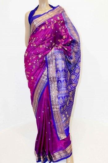 Magenta and Royal Blue Pure Silk Saree