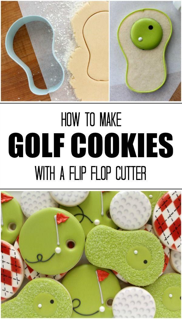 Cómo hacer galletas de golf simples con un cortador de flip flop través Sweetsugarbelle.com