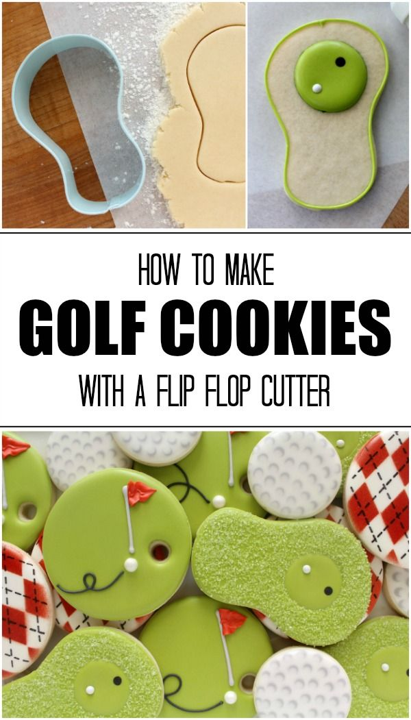 How to make simple golf cookies with a flip flop cutter via Sweetsugarbelle.com