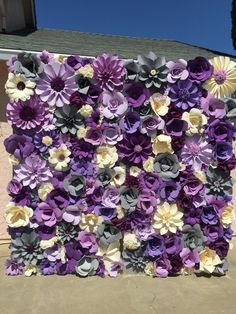 8x8 paper flower wall, shades of purple, cream white and gray. For sale $550