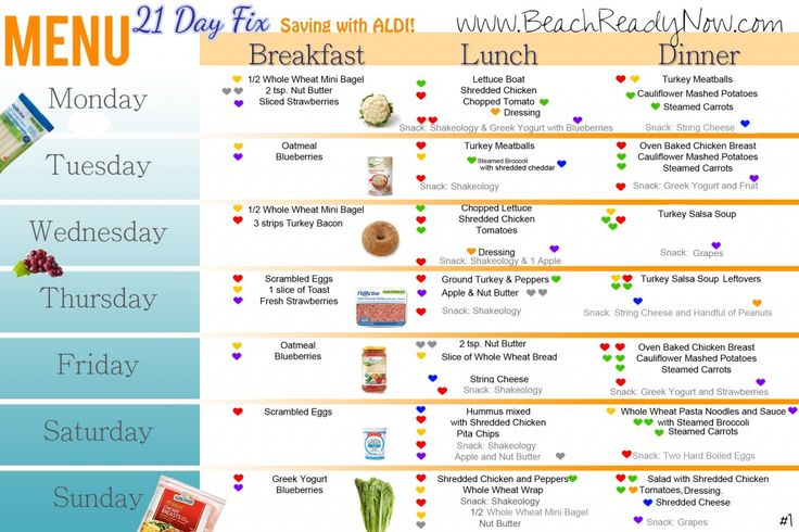 Affordable 21 Day Fix Weekly Menu with ALDI – Menu #1 1,200 – 1,499 Calorie Plan If your plan requires more calories, increase servings as needed. Use your containers as your guide for serving sizes