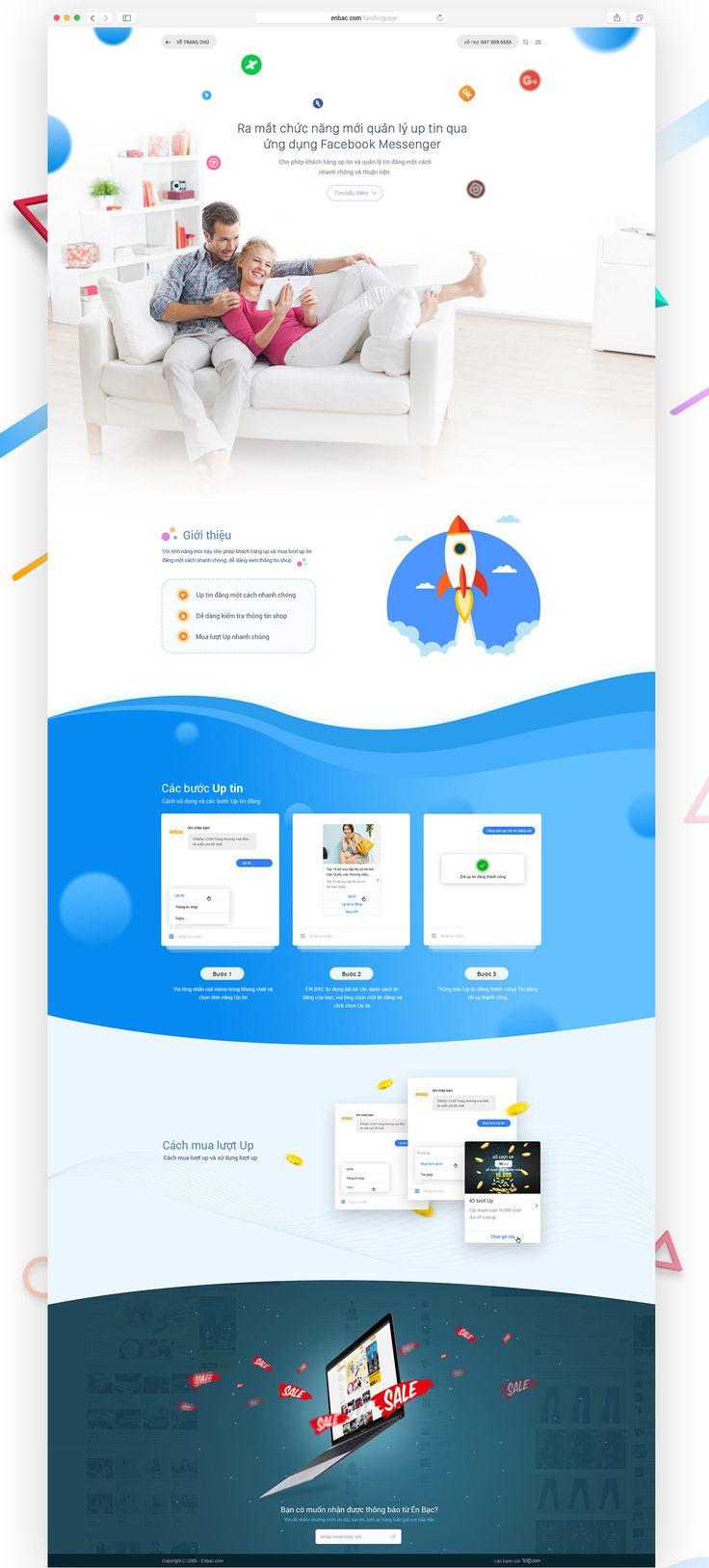 Landing page giới thiệu tính năng quản lý và up tin đăng qua ứng dụng Facebook Messenger của Enbac.com